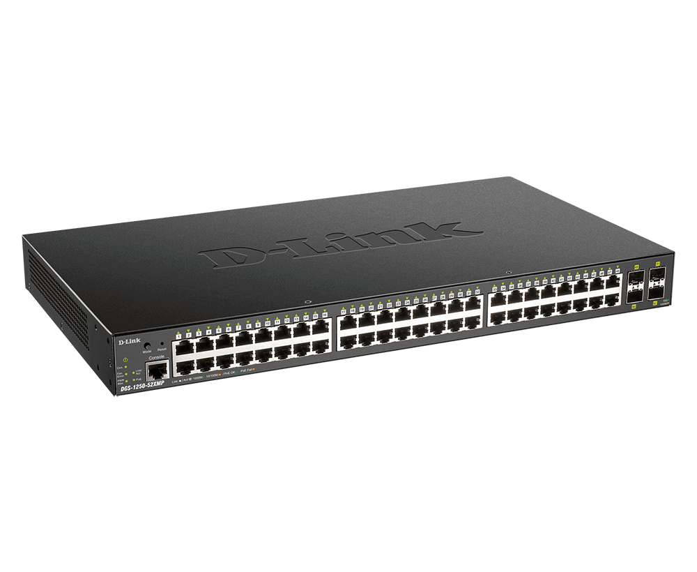 Switch PoE gerenciado inteligente de 52 portas e 10 gigabits